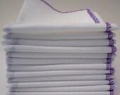 One Dozen Unpaper Towels Purple Bordered  - Eco Friendly Reusable Birds Eye Cotton - Home and Living