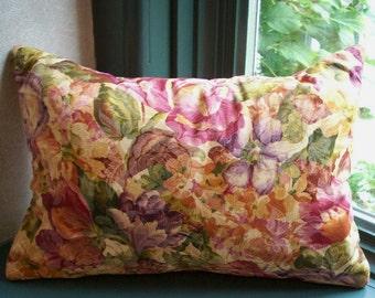 Lavender Buckwheat Neck Roll - Autumn Rose Garden Decorative Lumbar Throw Pillow - Aromatherapy Travel Pillow - 13 1/2 inches X 8 1/2 inches