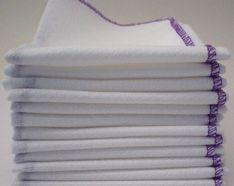 One Dozen Unpaper Towels Purple Bordered  - Eco Friendly Reusable Birds Eye Cotton - Home and Living