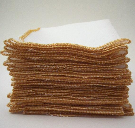 "Unpaper Towels Marigold Yellow  Bordered  - Eco Friendly Reusable Birds Eye Cotton Napkins - Washable Fabric Wipes - 11 1/2"" X 11 1/2"""