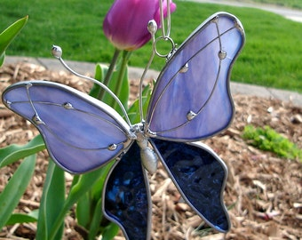 Blue-Purple Haze Stained Glass Butterfly