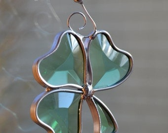Mini Beveled Shamrock  Stained Glass Suncatcher