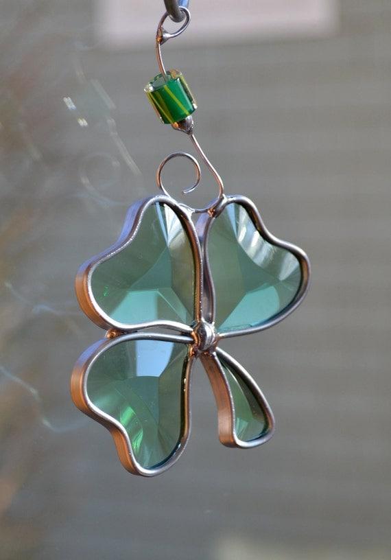 Mini Beveled Shamrock  Stained Glass Suncatcher