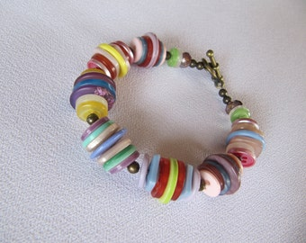 Buttons jewelry, boho, bracelet, pastel colors