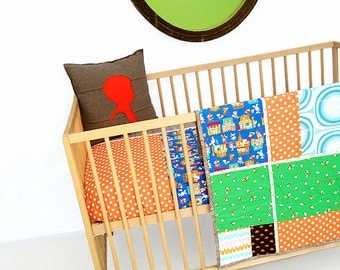 Unisex Baby Quilt , Play Mat , Baby Blanket , Baby Stroller Cover , Bumperless Crib Bedding , Blue Green ,  Buta Shop