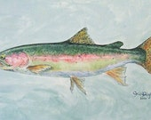 "Rainbow Trout Painting,  Acrylic on Canvas, 15"" x 30"" x 2"", by Jennifer Jones Rashleigh of Cédian Painting"