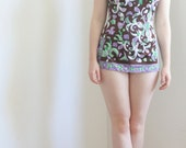 Purple Brown Abstract Print Skirted Swim Suit 1960s Small