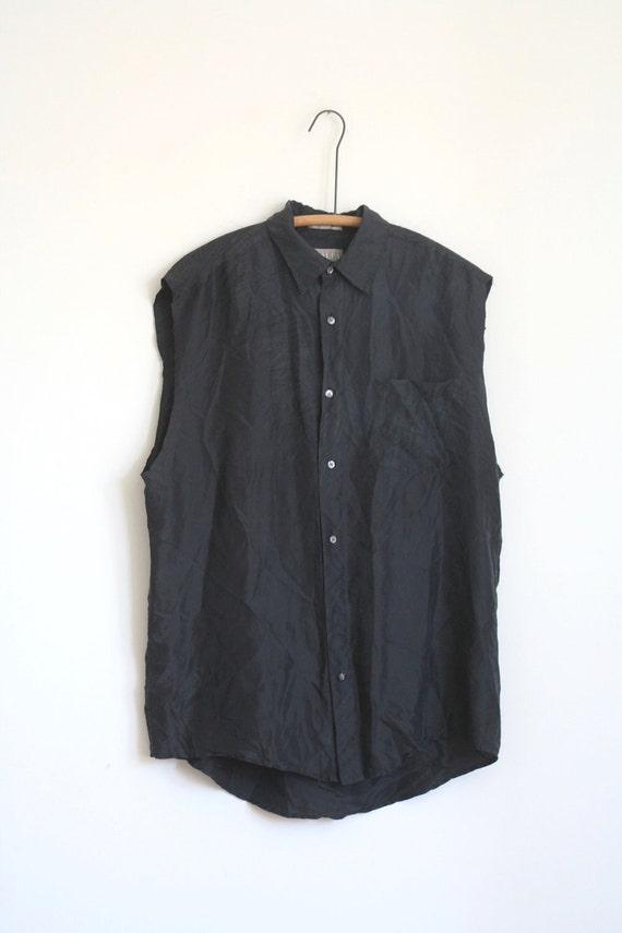 Black Silk Blouse Sleeveless Vintage 80s Loose Medium