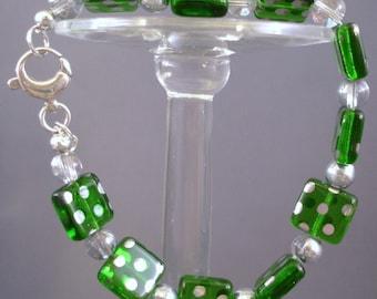 Green Bracelet - Green Earrings - Glass Bead Jewelry - Beaded Bracelet - Beaded Earrings - Silver Jewelry - Jewelry Set - Handmade Jewelry