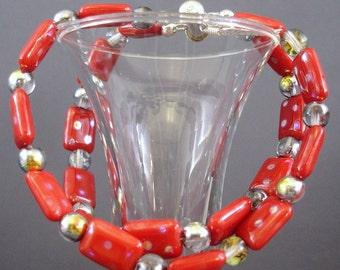 Red Bracelet - Red Earrings - Glass Bead Jewelry - Beaded Bracelet - Beaded Earrings - Silver Jewelry - Jewelry Set - Handmade Jewelry