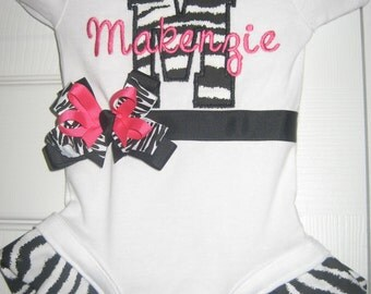 Boutique monogrammed Zebra bodysuit with bow