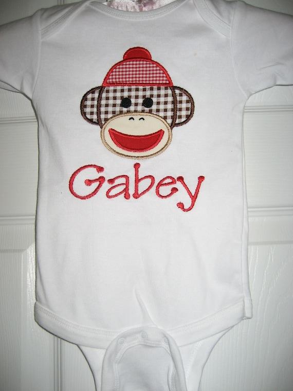 Sock Monkey personalized bodysuit shirt
