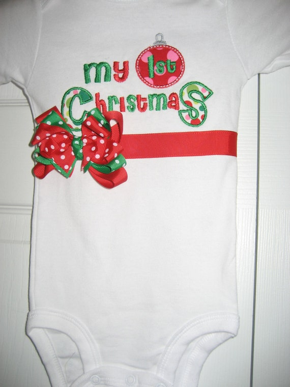 Boutique First Christmas Long Sleeve bodysuit with bow