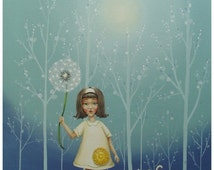 Dandelion - 8X10 Print of Girl with White Cat