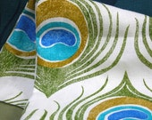 Peacock Feather tropical hand block printed in turquoise and olive on white linen fabric yardage 1/2 yard