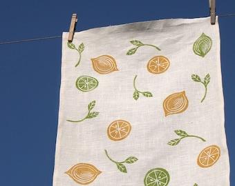Lemon Lime hand block printed white linen botanical home decor tea towel hostess gift