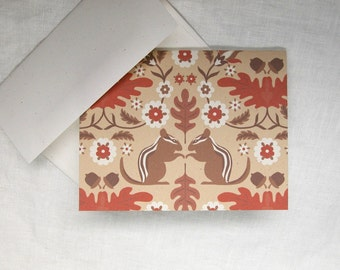 Chipmunk and oak forest recycled note cards set of eight