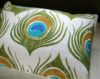 Peacock Feather white linen hand block printed olive green and turquoise decorative home decor pillow case