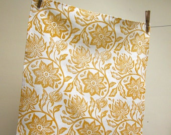 everyday yellow ochre on white hand block printed home decor passionflower linen napkins hostess gift set of 6