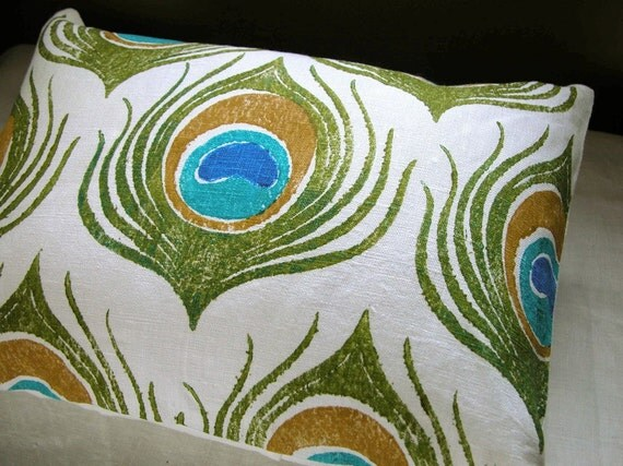 Peacock Feather white linen hand block printed olive green and turquoise tropical colorful decorative home decor pillow case