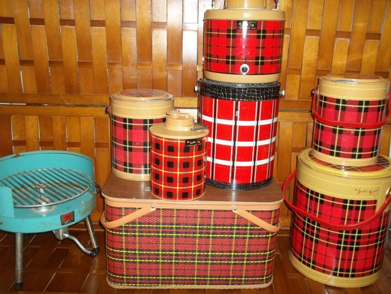 Reduced 199.00The Ultimate Vintage Cooler collection and red Plaid picnic basket