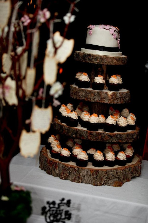 wooden cupcake wedding cake stands rustic wood tree slice 4 tier cupcake stand for your wedding 27592