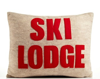 "Throw Pillow, Decorative Pillow, ""Ski Lodge"" pillow, 14X18 inch"