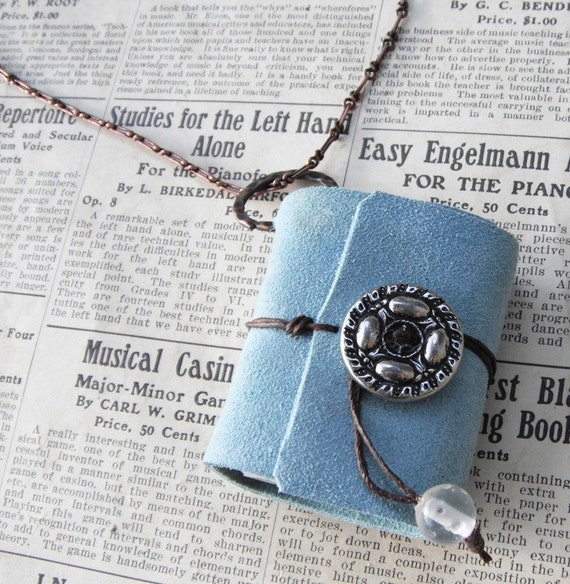 Soft blue journal -  book necklace with copper chain. a locket for your thoughts.