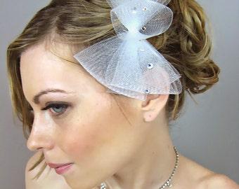 Wedding Bridal Hair Comb, Petite Audrey Ribbon Hair Clip - oversize ribbon, bridal hat, horse hair ribbon headpiece, cocktail hat