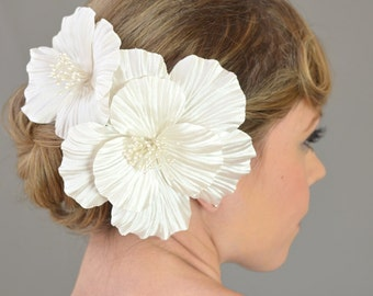 Bridal Hair Flowers, Wedding Hair Accessories, Silk Hair Flowers - white, ivory, satin habiscus