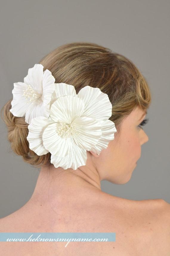 Bridal Hair Flowers, Wedding Hair Accessories, Silk Hair Flowers - white, ivory, satin habiscus