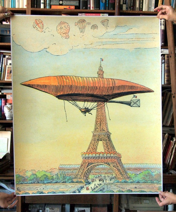 Wall-sized Reproduction Print. 1904 Eiffel Tower and Zeppelin. 30 inches x 36 inches