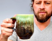 céramique tasse ou la chope de bière café tasse thé vert et Khaki brun glaçures