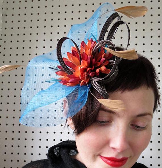 Blue Fascinator Burnt Orange wedding hat  Fascinator  Hat  NIGHT KISS