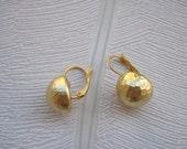 Matte Gold Plated Hammered Earrings, Lever Back Earrings