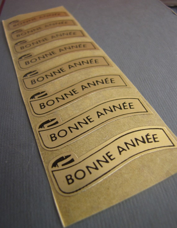 16 x Vintage Bonne Annee French Happy New Year Stickers for Altered Art Collage etc