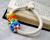 Crochet Bracelet - Beaded Rainbow Bracelet - Crochet Wrap Bracelet - Crochet Jewelry - Colorful Cotton and Beads Bracelet