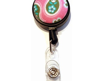 Tiny Green Paisley on Pink Badge Reel