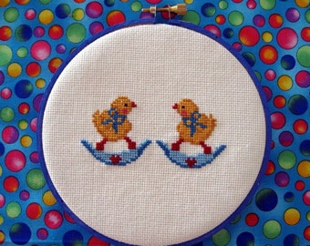 Easter Wall Hanging Easter Chicks Cross Stitch Wall Decoration Easter Chickie Peeps