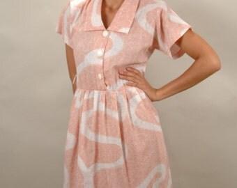 Vintage PEACH short sleeved summer Women's Dress