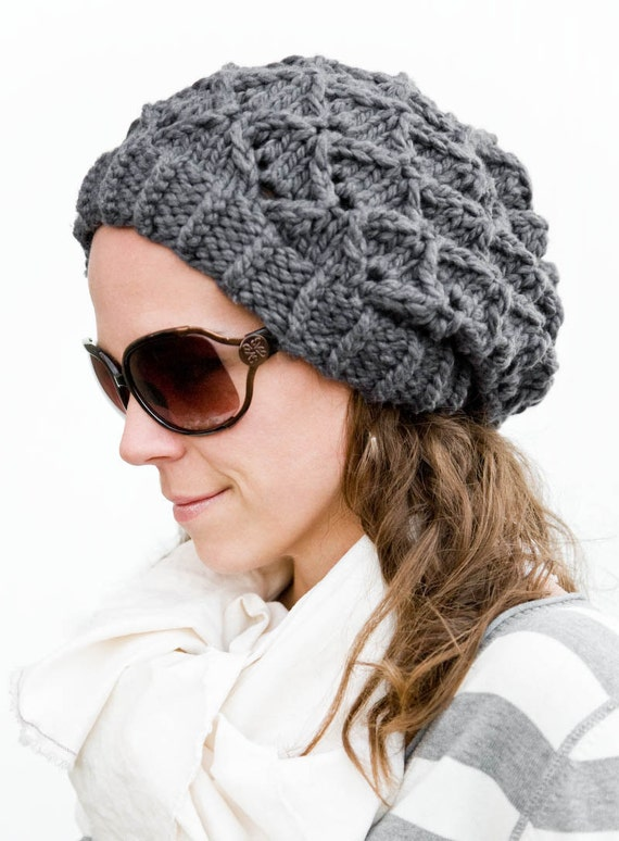 Knitting Pattern Chunky Hat : Womens Slouchy Hat Pattern, Chunky Knit -Bow Tie Bubbles (pattern PDF)