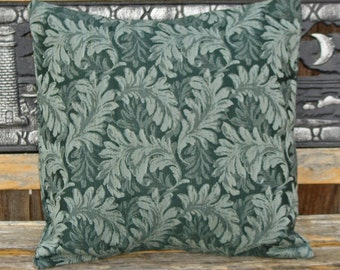 """Throw Pillow Cover, Outdoor Pillow Cover, Large Delicate Leaf Print in Forest Green Pillow, Accent Pillow, Decorative Cushion, 18x18"""" Square"""