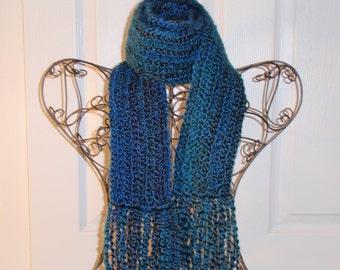 Hand Crocheted Scarf SUPER SOFT Homespun Yard in Tropical Lagoon - Women's Fashion Scarf, Woman's Apparel, Scarf, Scarves, Fashion Accessory