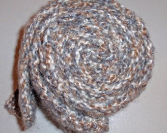 Crocheted Man's Scarf - Lion's Brand Yarn in SHAKER GRAY - Men's Fashion Scarf, Men's Apparel, Scarf, Scarves, Clothing Accessory, Masculine