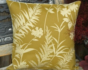 """Throw Pillow Cover, Floral Silhouette in Olive Green Outdoor Pillow Cover, Handmade Outdoor Pillow Cover, Decorative Cushion Cover, 16x16"""""""