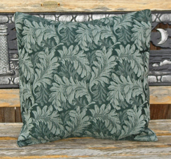 """Throw Pillow Cover, Large Delicate Leaf Print in Forest Green Outdoor Pillow Cover, Decorative Handmade Patio Pillow Cover,  18x18"""" LAST ONE"""