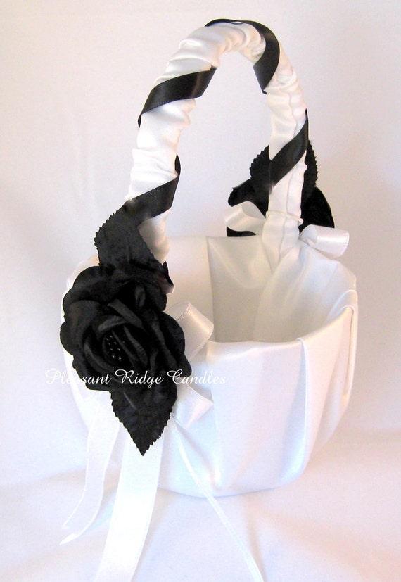Flower Girl Baskets Black : Black flower girl basket white by