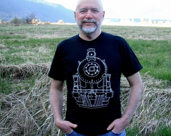 TRAIN TSHIRT : Mens Train Tshirt - Locomotive Engine Line Drawing Mens Tee - Gift for Dad - Gift for Him - Mens Black Tshirt - Minimalist