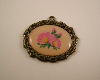 pink flowers metal charm or pendant