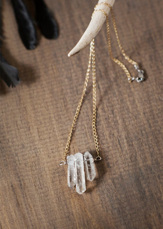 Icicle Necklace - Tibetan Crystal - 14k Gold Fill - by Bark Decor